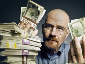 Walter White holding a stack of money